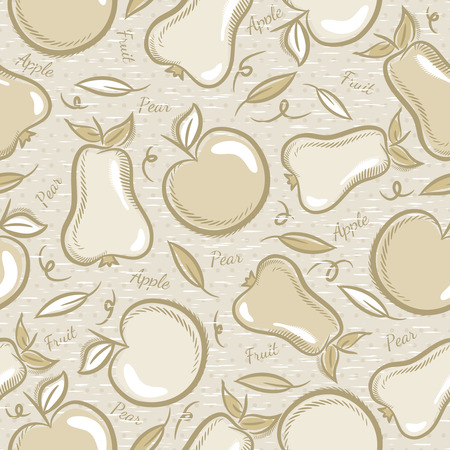 scrap booking: Background with  apples and pears. Ideal for printing onto fabric and paper or scrap booking. Illustration