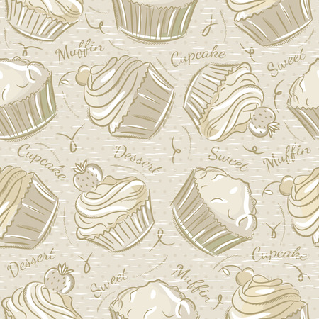 scrap booking: Background with cupcakes. Ideal for printing onto fabric and paper or scrap booking.
