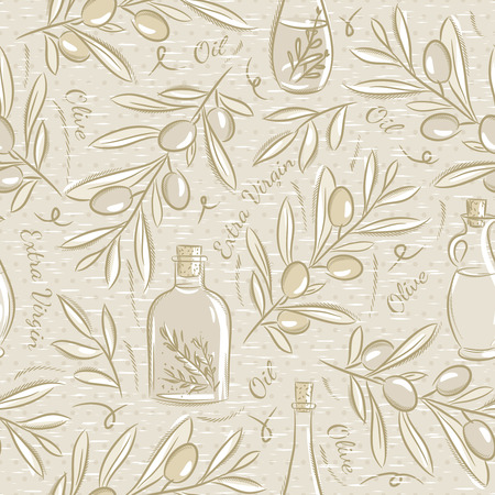 olive oil bottle: Background with olive Ideal for printing onto fabric and paper or scrap booking. Illustration