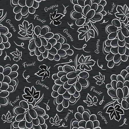 scrap booking: Black blackboard with grapes Ideal for printing onto fabric and paper or scrap booking. Illustration