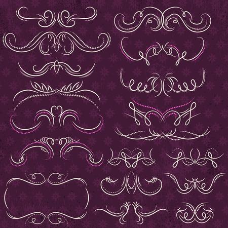 scroll: Calligraphy decorative borders, ornamental rules, dividers, vector Illustration