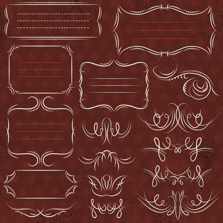 rules: Calligraphy decorative borders, ornamental rules, dividers, vector Illustration