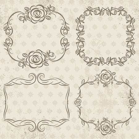 wedding  art: Calligraphy decorative borders with roses