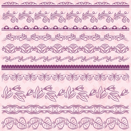 pink flower background: Set of Lace Paper with flower over pink background