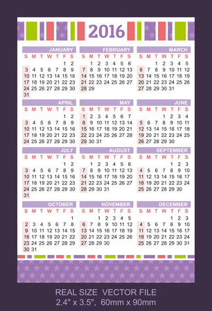 time table: Pocket Calendar 2016, vector, start on Sunday Illustration