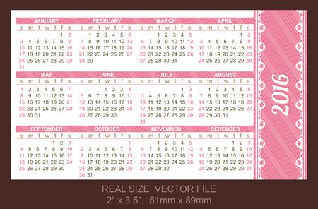 pocket: Pocket Calendar 2016, vector, start on Sunday Illustration