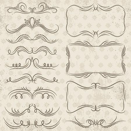 bordi decorativi: Bordi decorativi calligrafia, regole ornamentali, divisori Vettoriali