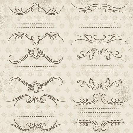 bordi decorativi: Bordi decorativi calligrafia, regole ornamentali, divisori, vettore Vettoriali