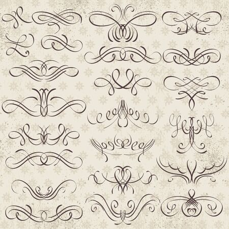 wedding clipart: Calligraphy decorative borders, ornamental rules, dividers, vector Illustration