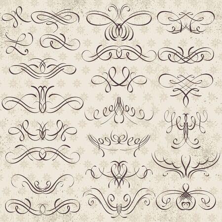 Calligraphy decorative borders, ornamental rules, dividers, vector Illustration