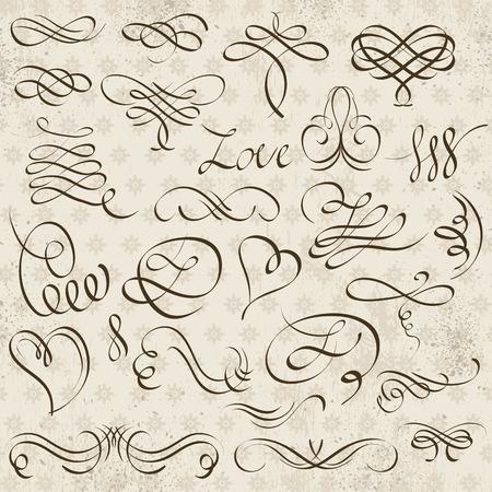 dividing: Calligraphy decorative borders, ornamental rules, dividers, vector Illustration