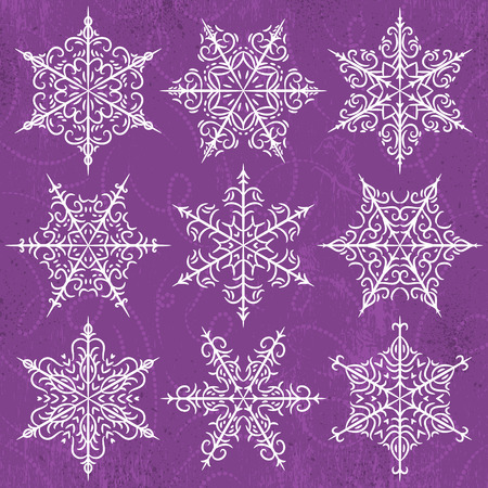 abstract doodle: Purple  background with snowflakes, vector illustration
