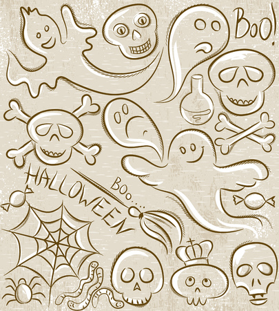 spider  net: Halloween set with ghost, skull, net and spider, vector Illustration