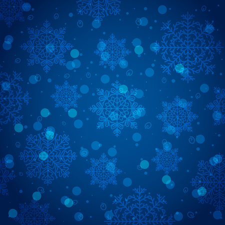 Blue background with snowflake and bokeh, vector illustration Illustration