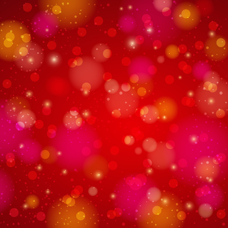 Red shine background with bokeh, vector illustration
