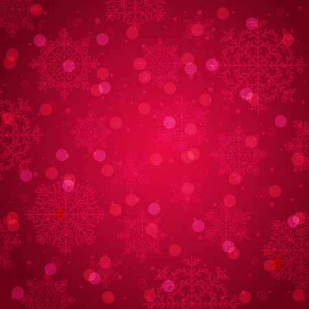 Red background with snowflake and bokeh, vector illustration