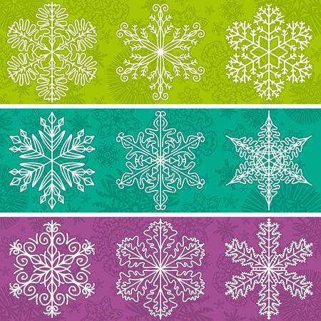 schneeflocke: Farbe Hintergrund mit Schneeflocken Linie Stil, Vektor-Illustration Illustration