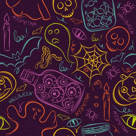 halloween symbol: Seamless Pattern with color Halloween ghost, skull and pumpkin