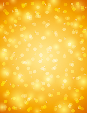 Golden background with snowflake and bokeh, vector Illustration