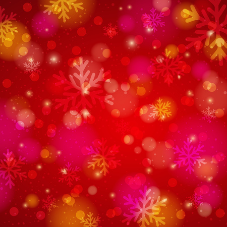 christams: Red background with snowflake and bokeh