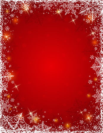 Red background with  frame of snowflakes