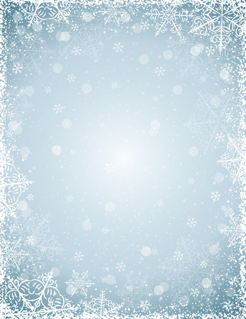 Grey background with  frame of snowflakes