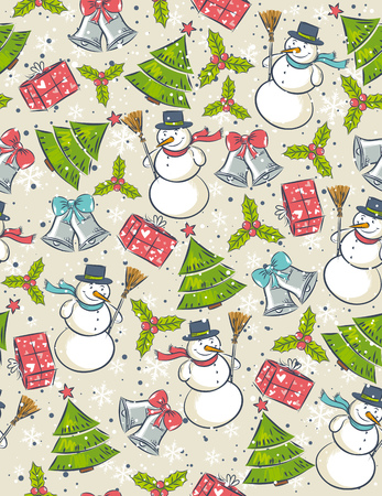 alder: Seamless background with christmas elements,  vector illustration