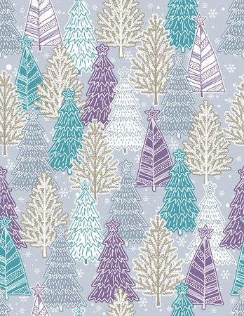 alder: Christmas background with forest of christmas trees Illustration