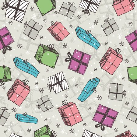 christmas gifts: color seamless background with christmas gifts