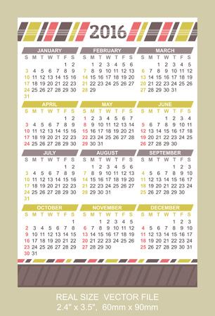 sunday: Pocket Calendar 2016,  start on Sunday Illustration