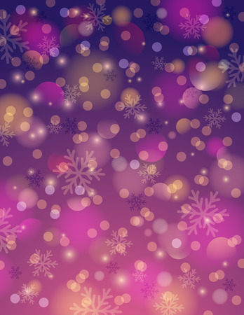 purple: Purple background with snowflake and bokeh, vector illustration Illustration