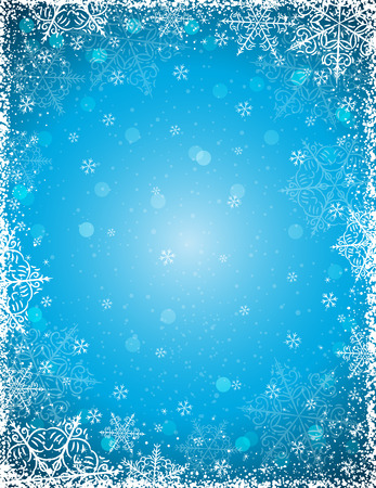 Blue background with  frame of snowflakes Vettoriali