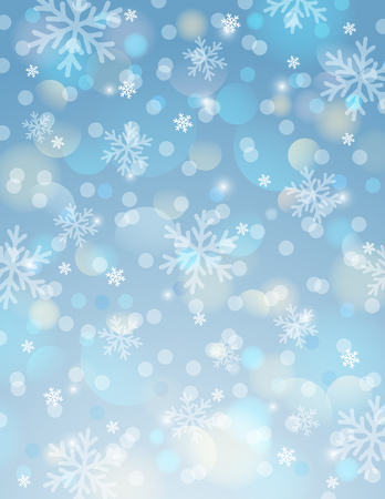 Blue background with snowflake and bokeh