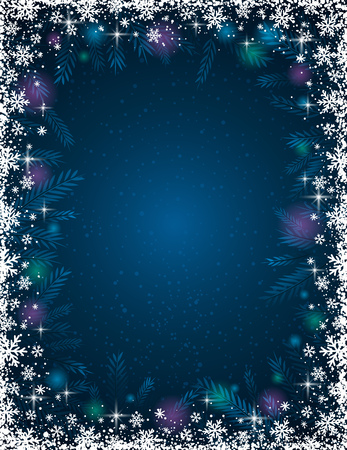 tree trimming: Blue background with  frame of snowflakes Illustration