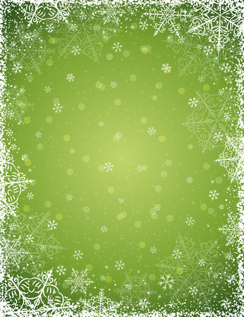 Green background with  frame of snowflakes Illustration