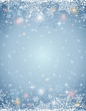 border cartoon: grey background with  frame of snowflakes,  vector illustration