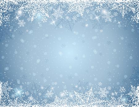 bordes decorativos: fondo gris con marco de copos de nieve, ilustraci�n vectorial