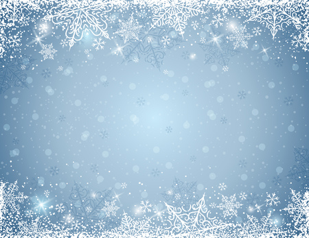 holiday celebrations: grey background with  frame of snowflakes,  vector illustration