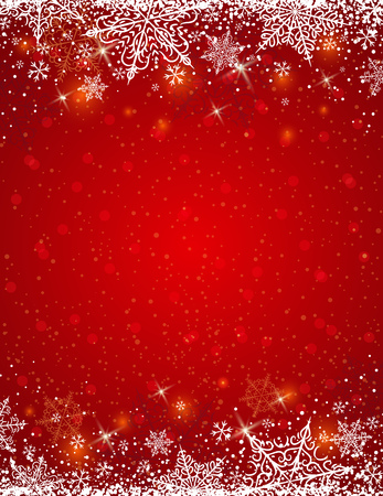 background: Red background with  frame of snowflakes,  vector illustration