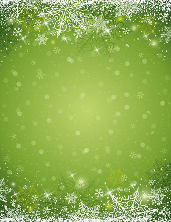 lustre: Green background with  frame of snowflakes,  vector illustration