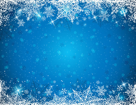Blue background with  frame of snowflakes,  vector illustration