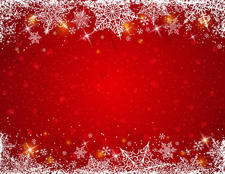 flocon de neige: Fond rouge avec un cadre de flocons de neige, illustration vectorielle