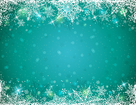 winter wallpaper: Green background with  frame of snowflakes,  vector illustration
