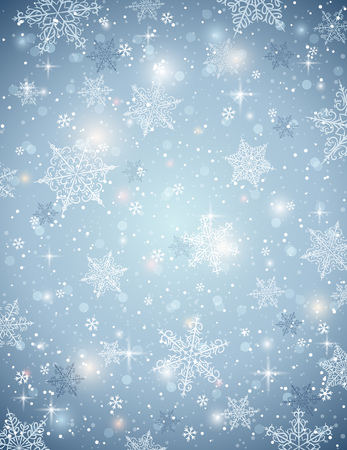 lustre: blue background with snowflakes, vector illustration