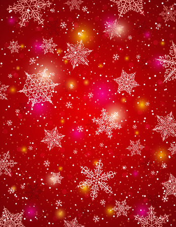 christams: Red background with snowflakes, vector illustration