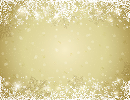 Golden background with  frame of snowflakes,  vector illustration