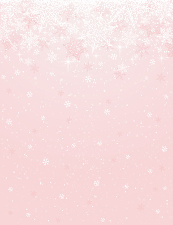 christams: Pink background with snowflakes, vector illustration