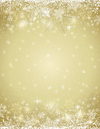 gold colour: Golden background with  frame of snowflakes,  vector illustration