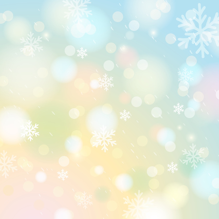 lustre: Bright shine background with bokeh and snowflakes, vector illustration