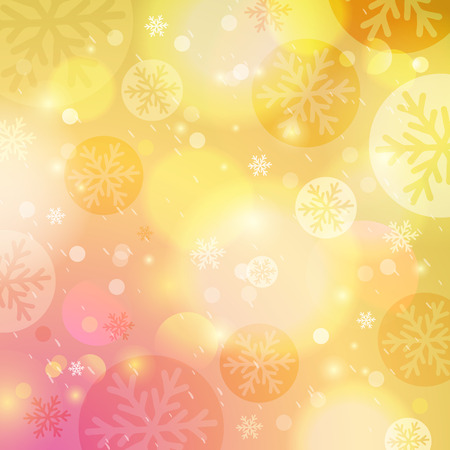 Bright yellow background with bokeh and snowflakes, vector illustration Illustration